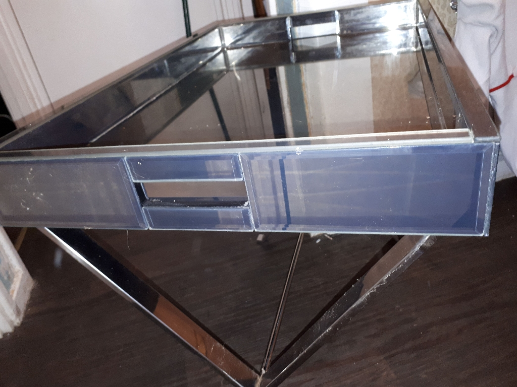 Glass Mirrored table.