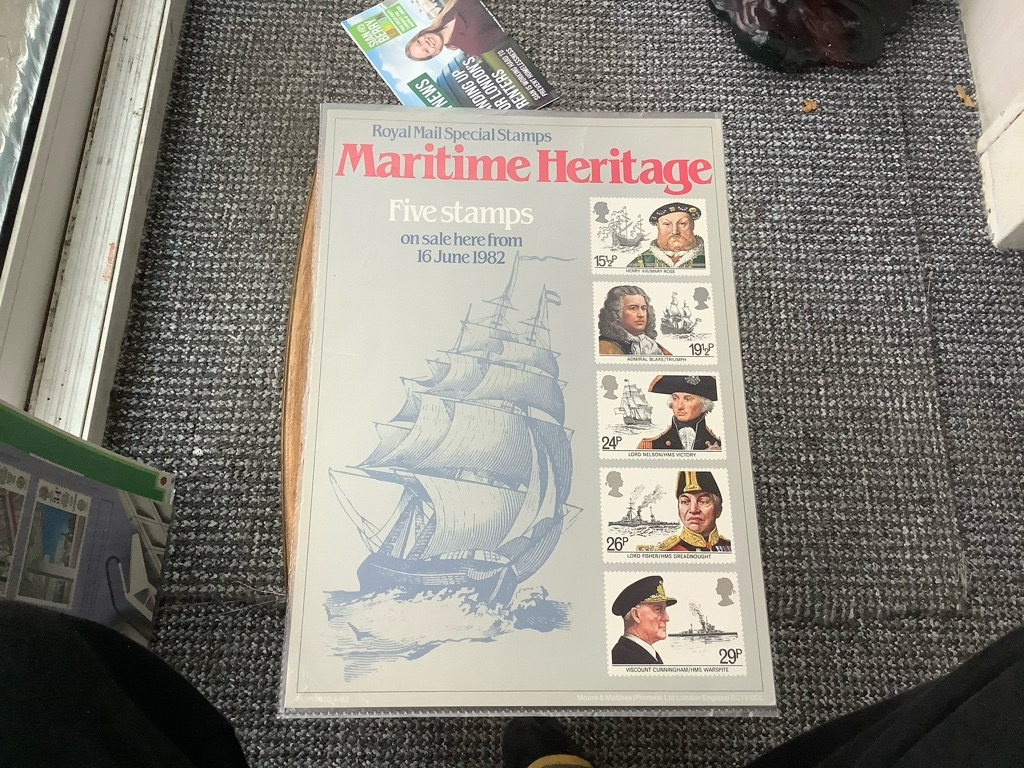 Royal Mail special stamps maritime heritage 16 June 1982 poster A4 EX C