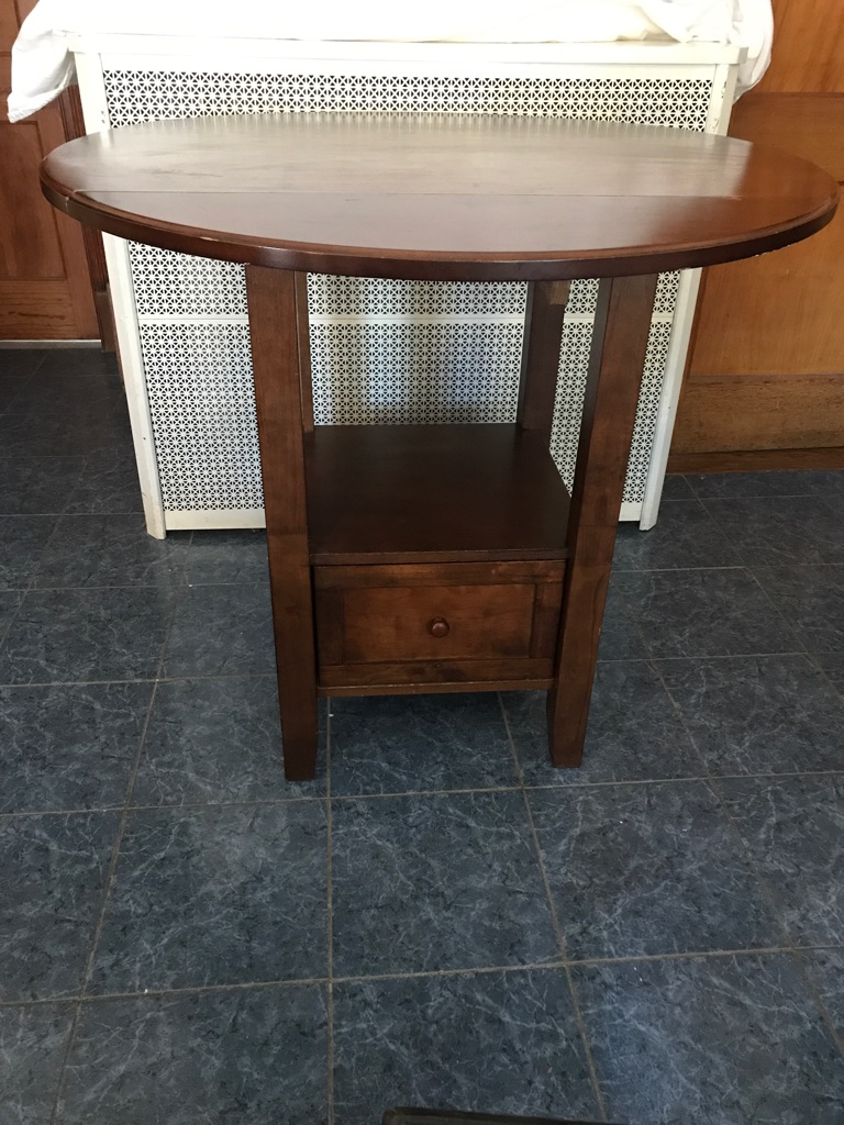 Small Wood Round Table with drop leaf