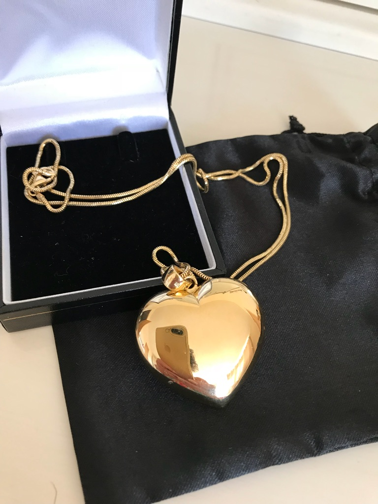 Sterling silver 18carat bonded gold heart pendant & chain