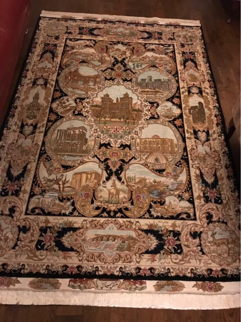 2 x handmade Persian silk rugs, 2x1.5 meters each