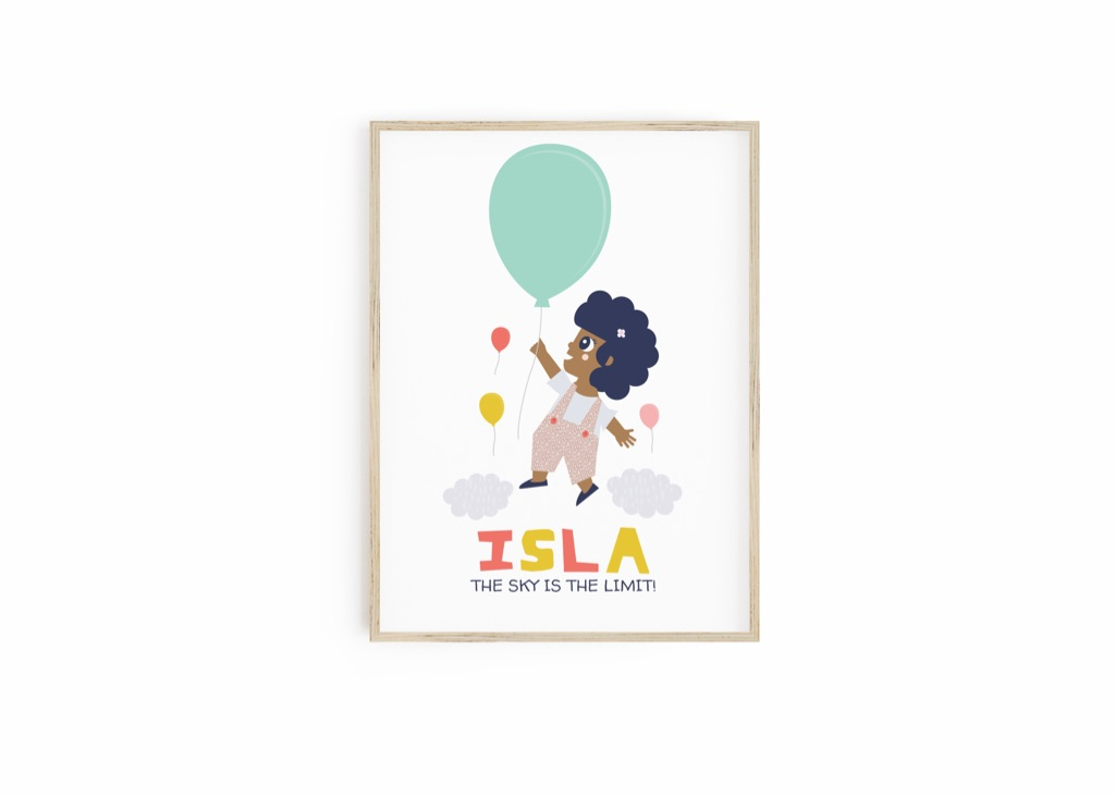 Personalised Inspirational Print for Kids - The Sky is the Limit