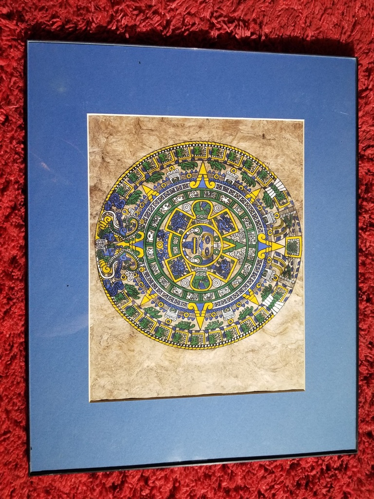 Framed Hand Painted Mayan Aztec Calendar on Parchment