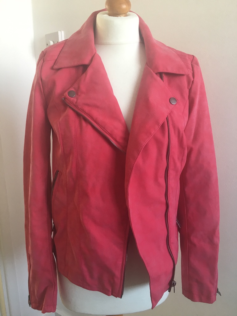 Red faux leather jacket small