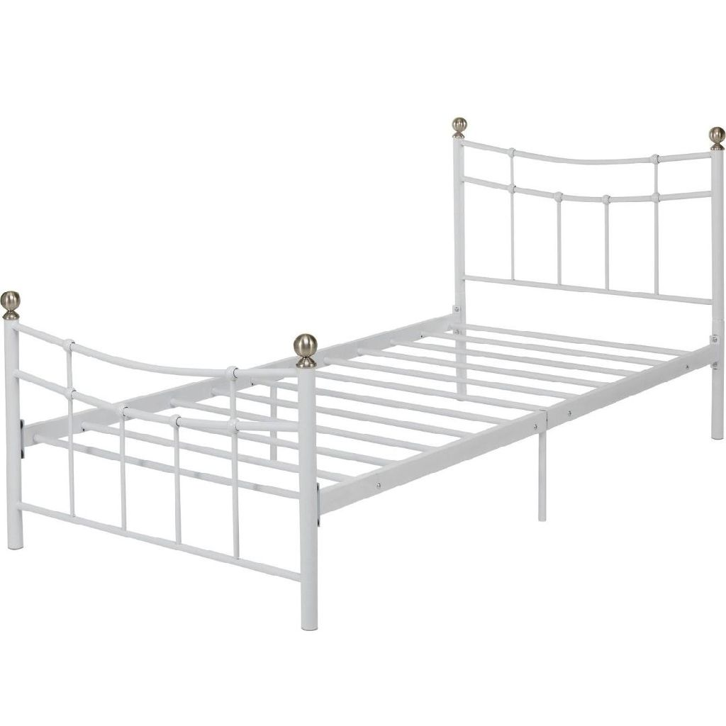 White Metal Single Bed Frame