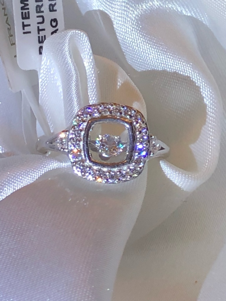 Woman Size O Platinum Overlay Sterling Silver (Rnd) Dancing Ring Made with SWAROVSKI ZIRCONIA