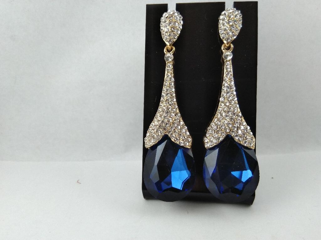 Beautiful drop blue long earrings