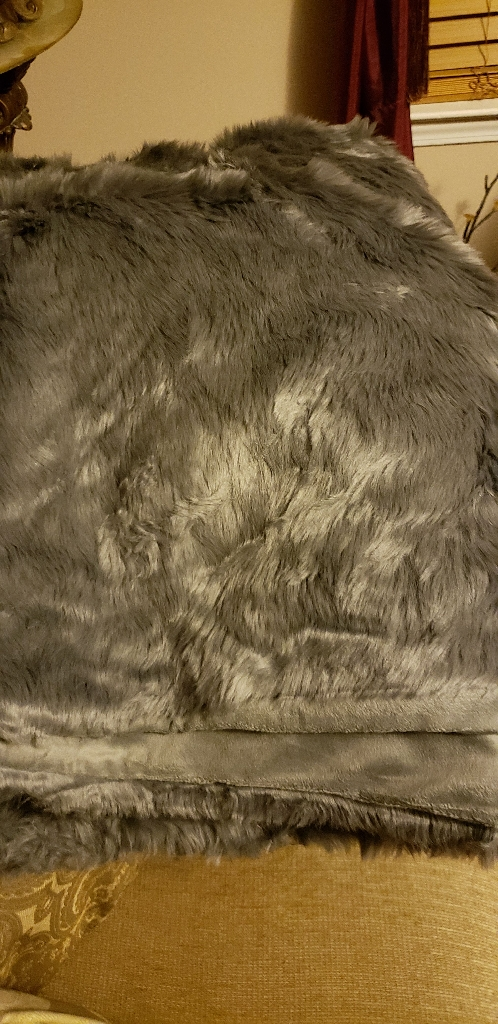 Dark Gray Faux Fur Throw Blanket