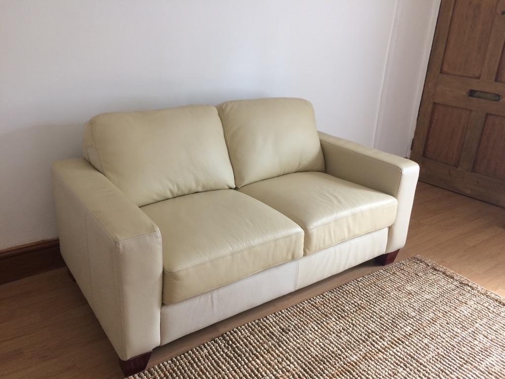 Comfy leather sofa cream