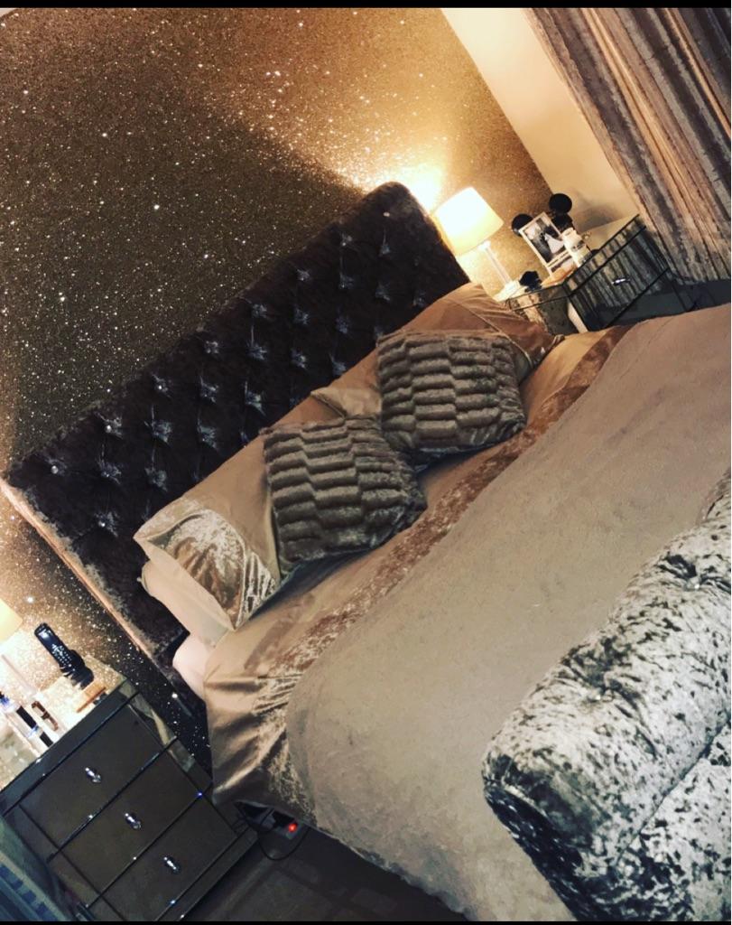 King Size Crushed Velvet Bed