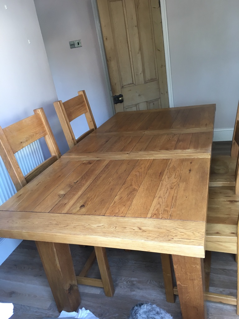 SOLD Listers oak table and four chairs