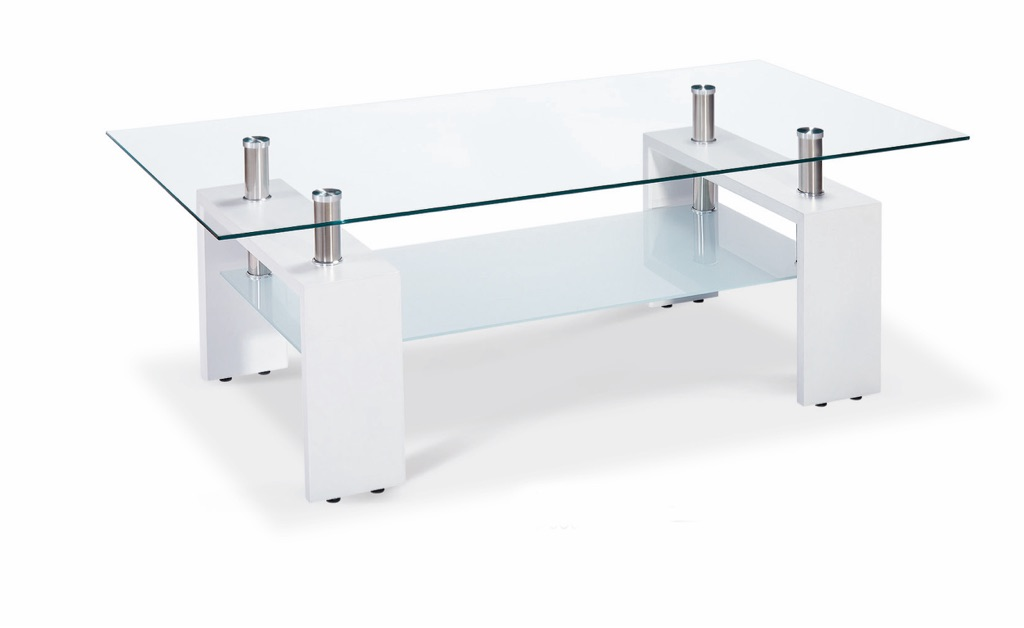 High Gloss Coffee Table with Clear Glass Top and Frosted Shelf (Black,Natural or White Legs)