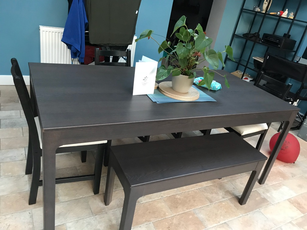 Ikea dining table, chairs and bench