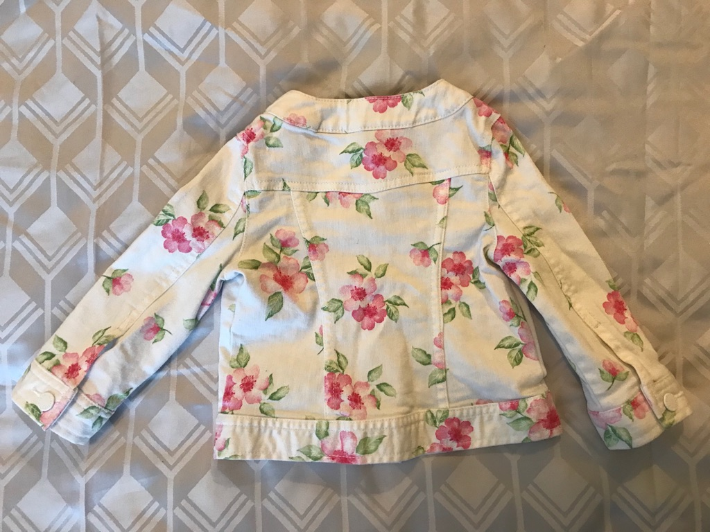 United Colours of Benetton White & Pink Floral Denim Jacket Girls 1-2Y 12-24M