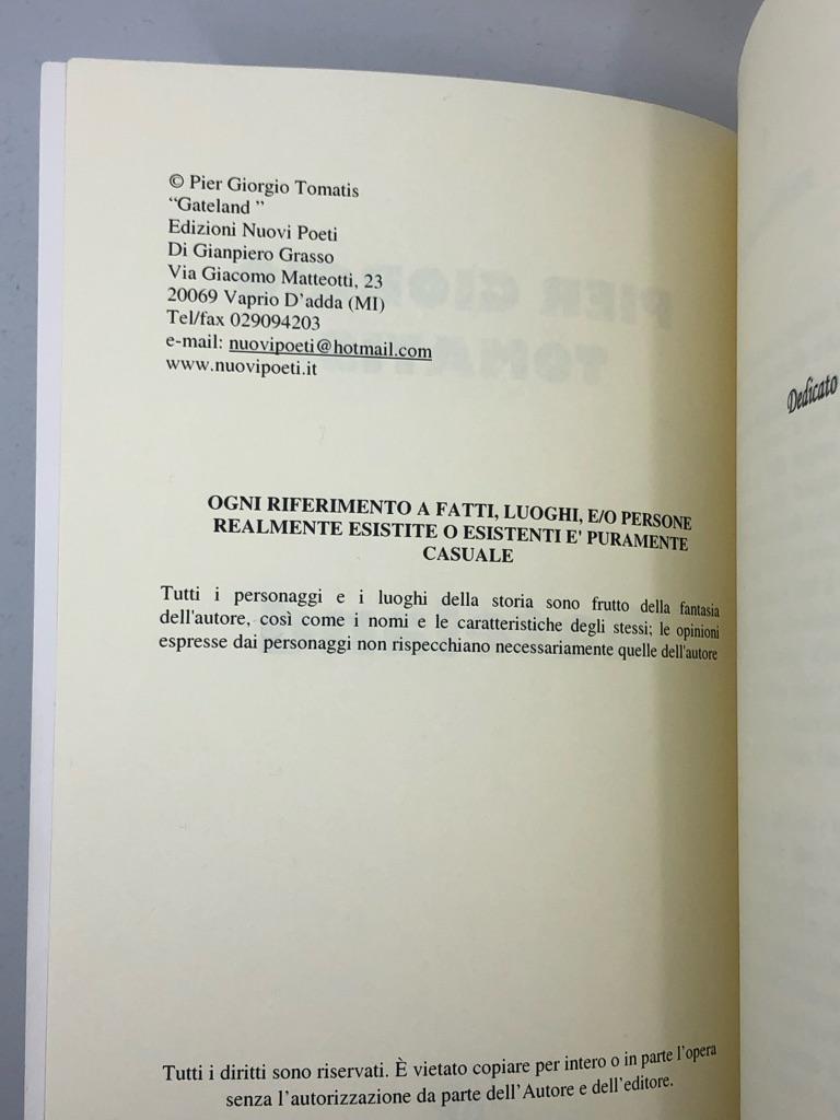 Italian Book: GATELAND by Pier Giorgio Tomatis editore Nuovi Poeti