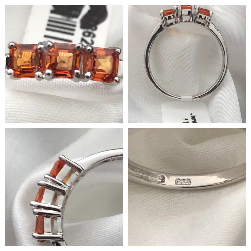 Sun set AAA sapphire sterling silver 925 Size Q platinum overlay New