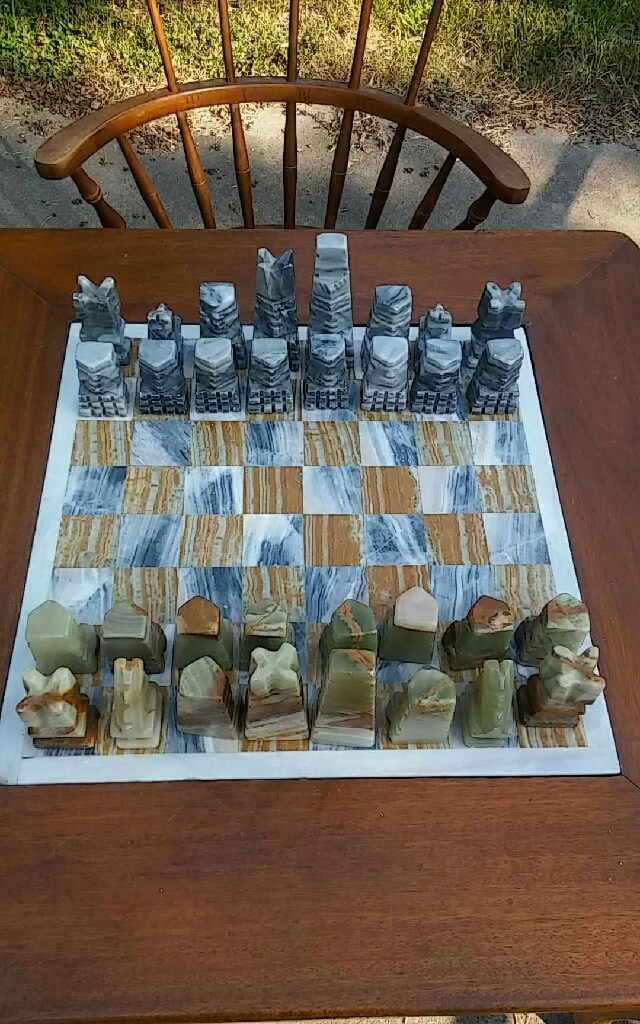 Antique Chess Table and Chairs Set