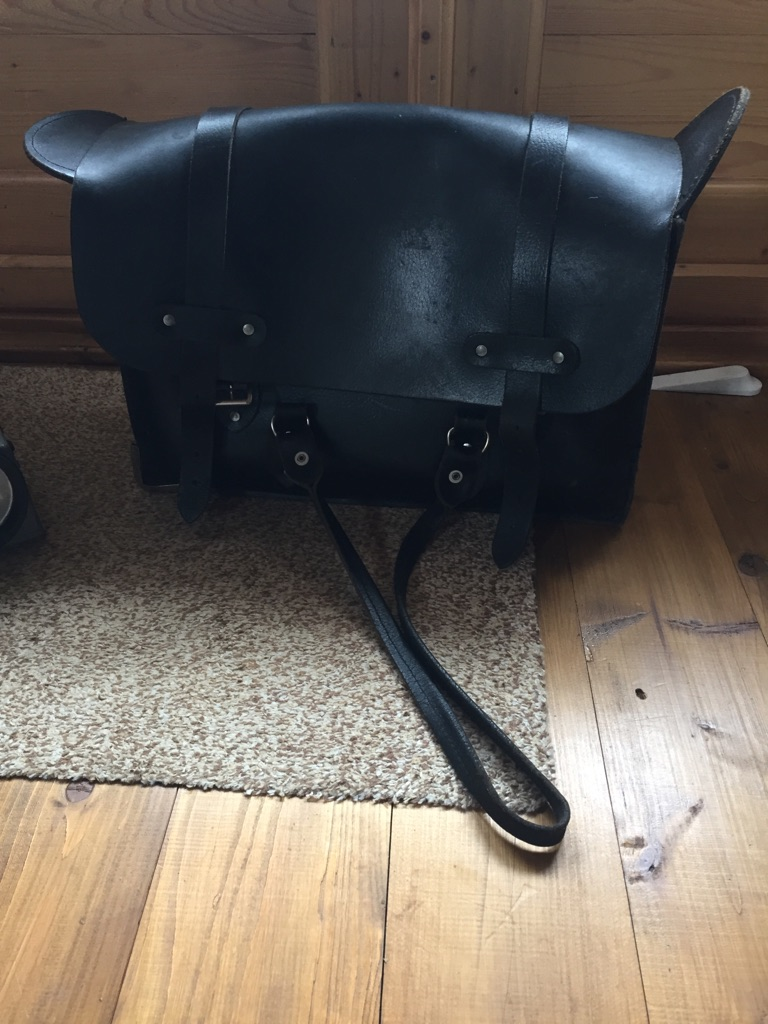Genuine train drivers leather bag and Bardick lamp