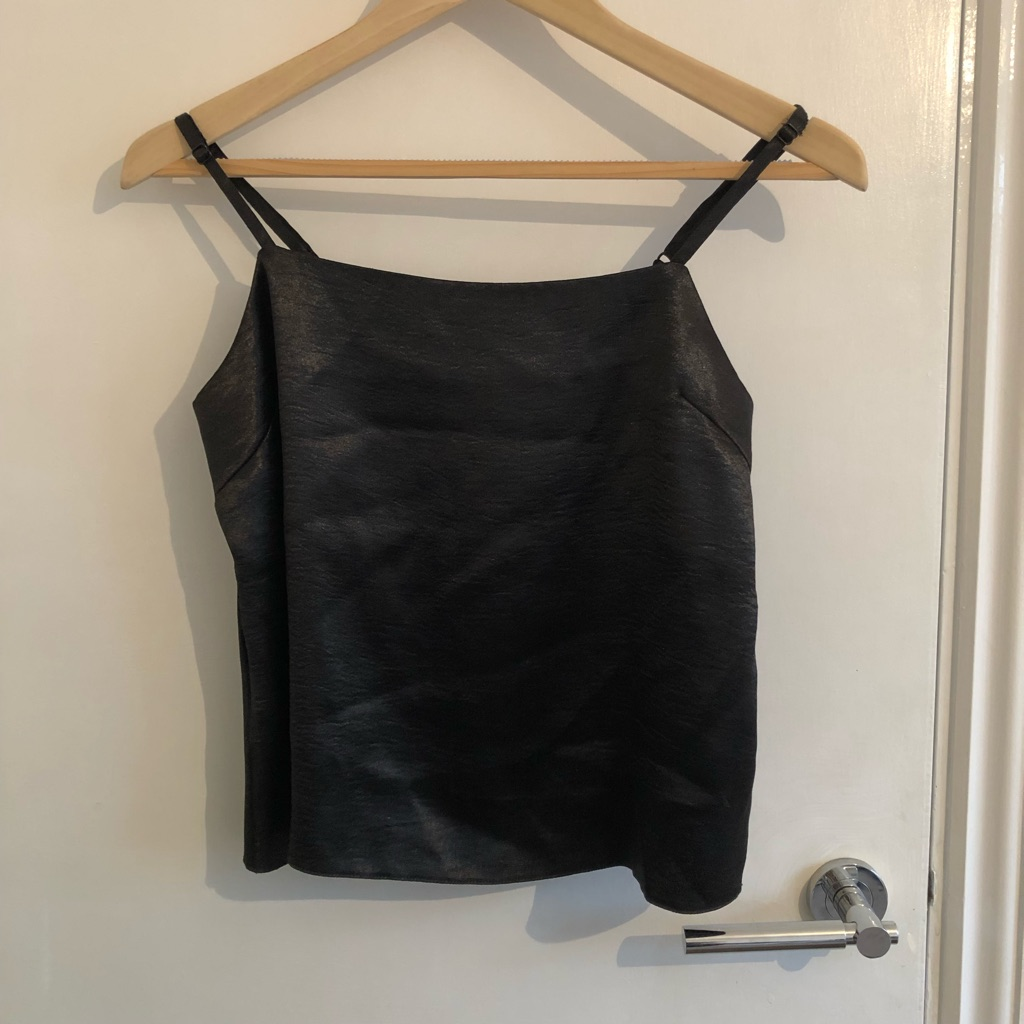 Black satin cami vest top - UK size 8