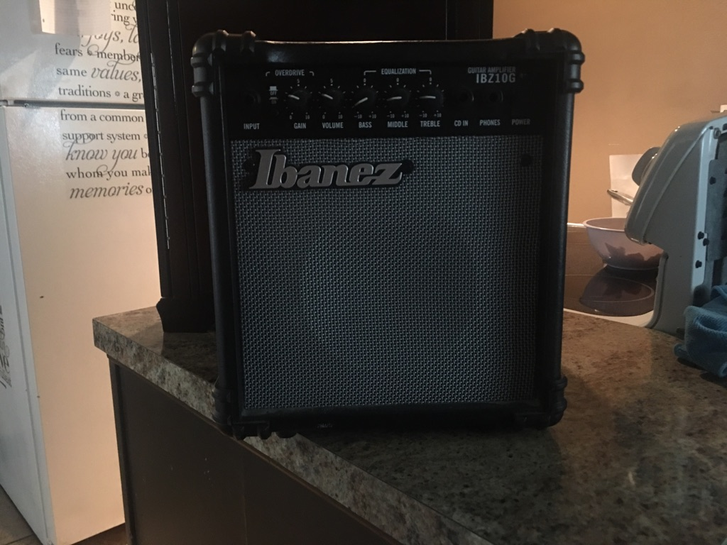 Ibanez black guitar amplifier