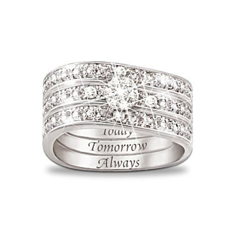 Sterling Silver 925 Diamond Today, Tomorrow, Always Ring Set