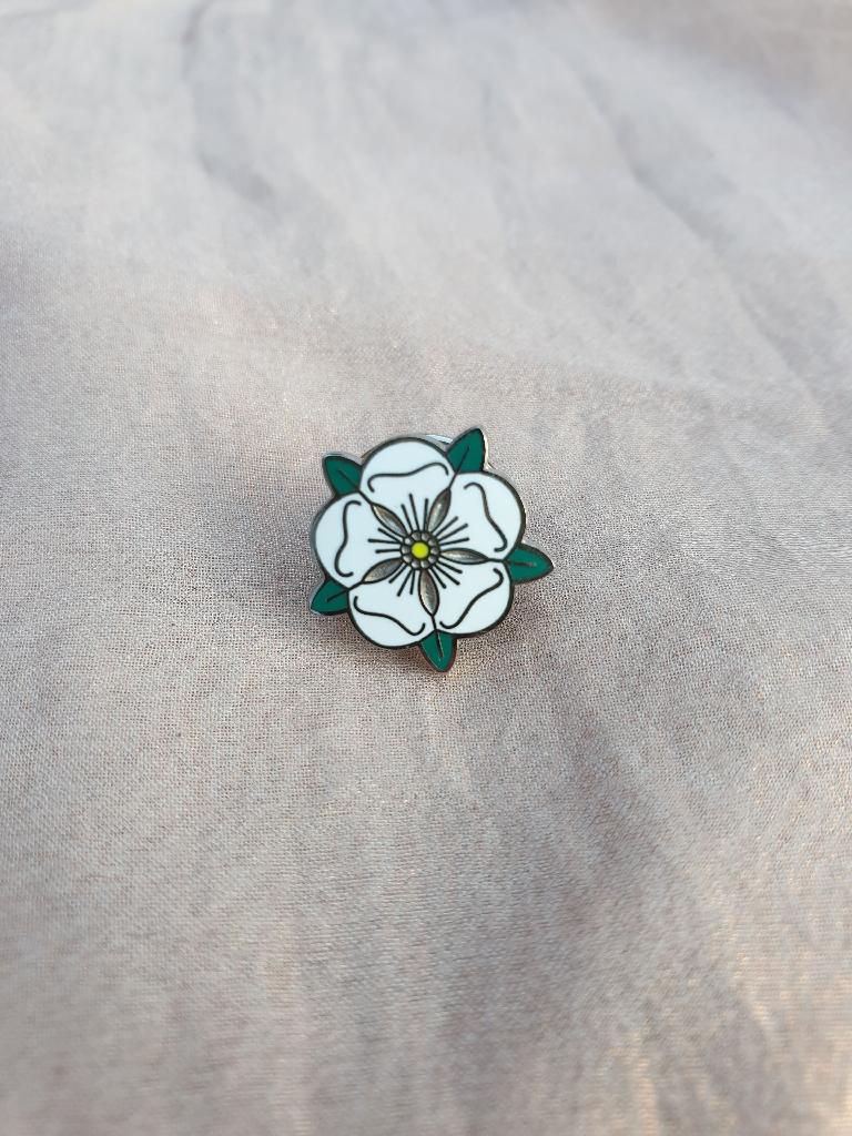 Enamel white rose pin