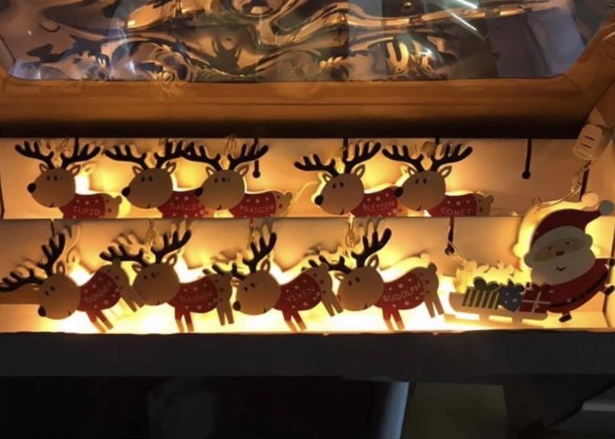 NEW Cute Santa & Reindeer Wooden LED Christmas lights