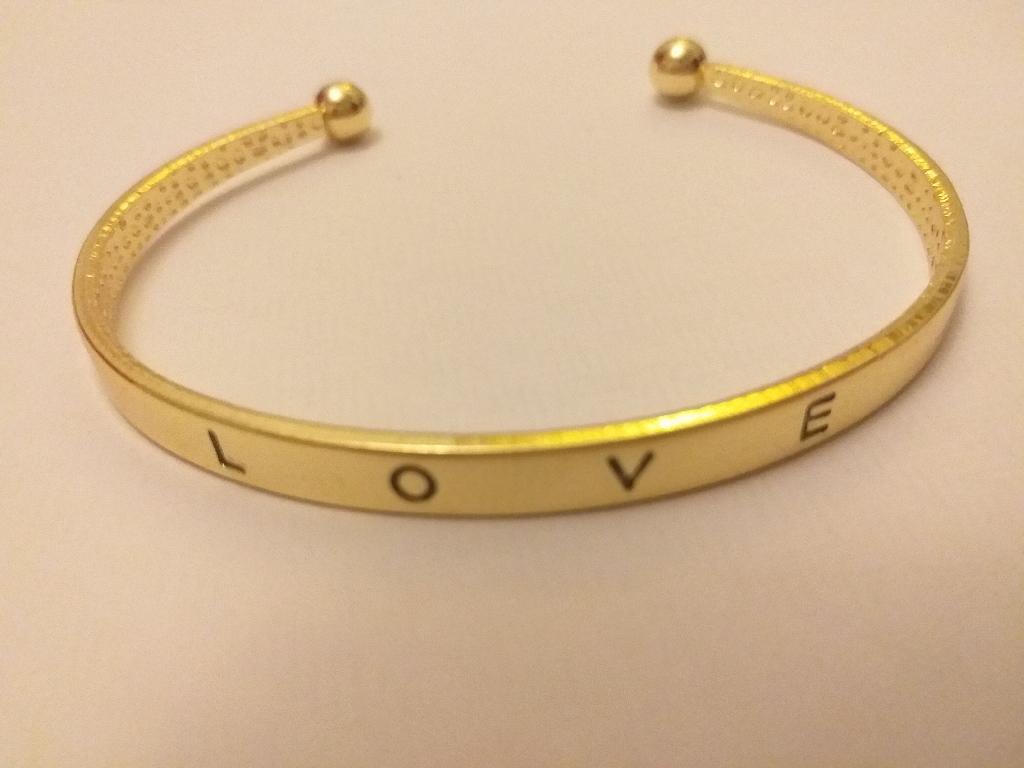 Gold plated cuff bangle bracelet