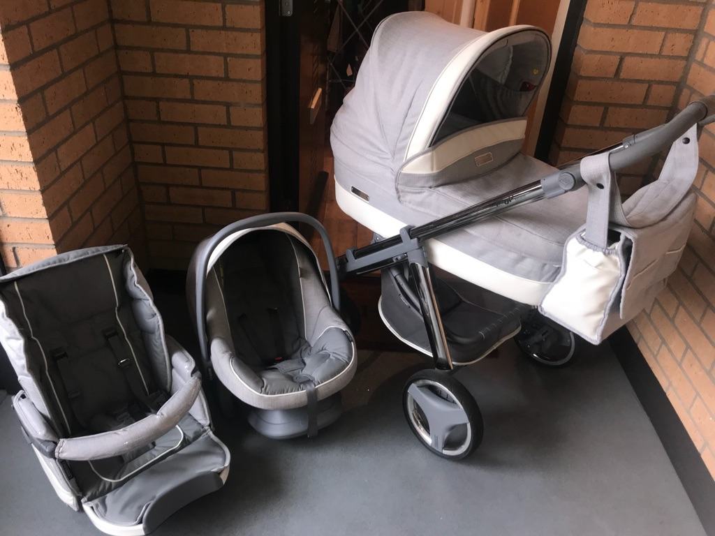 Bebecar sliver and cream pram set