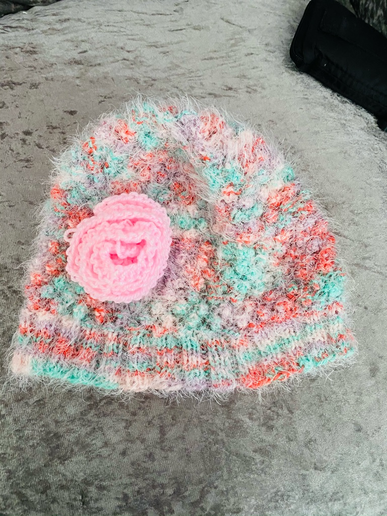 Women's multicoloured fluffy hand knitted beanie hat one size