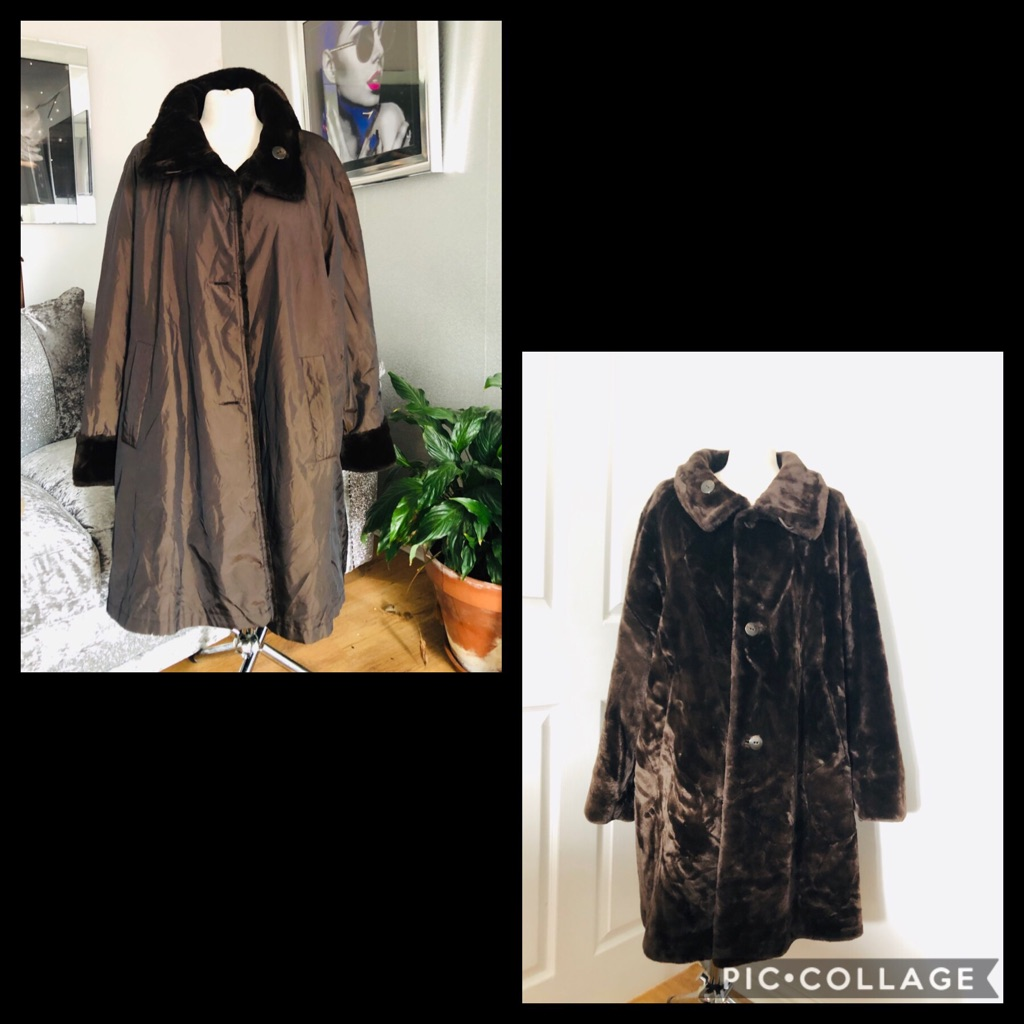 Women's brown vintage reversible coat size 14