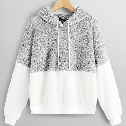 Colour block teddie hoodie