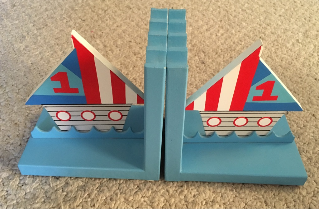NEW boys wooden book ends with sail boats - blue