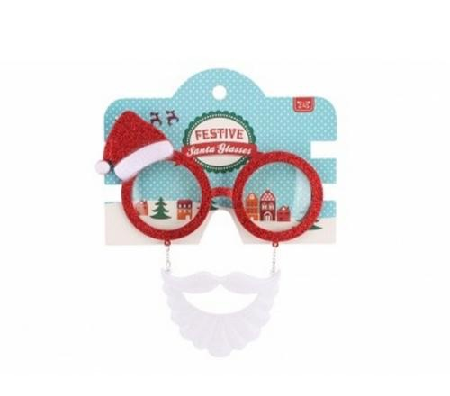 Santa beard and hat novelty glasses
