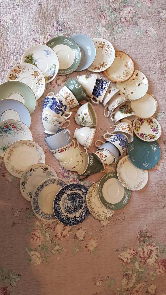 20 vintage mismatch cups and saucers