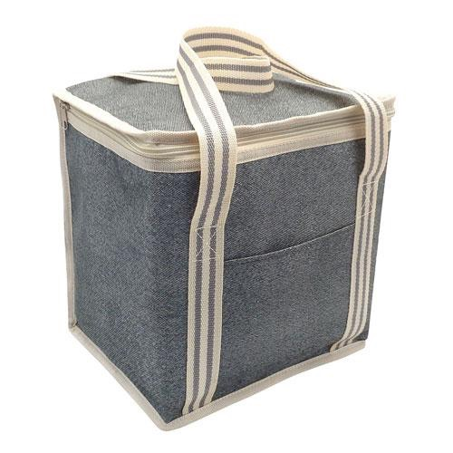 Large insulated cooler bag grey stripe
