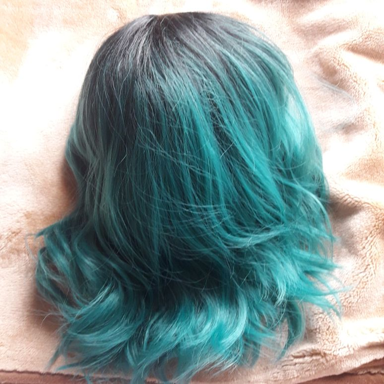 Jade colour curlable Wig