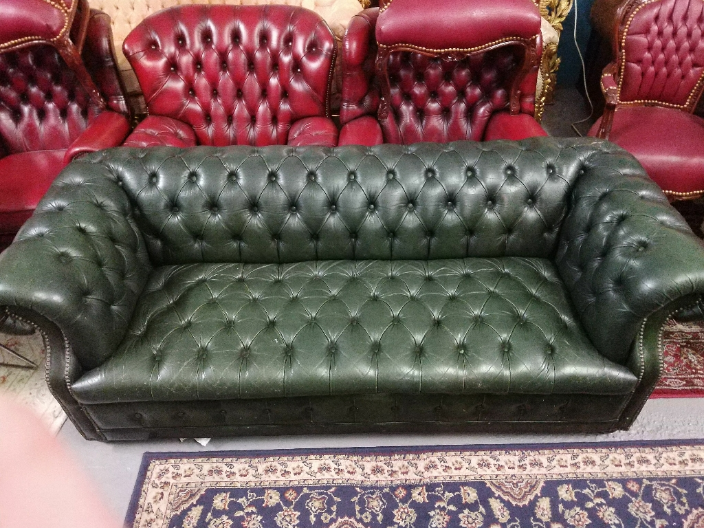 Green 3 Seater Chesterfield Sofa