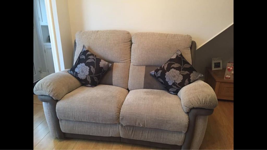 3 and 2 seater grey manual recliner sofas