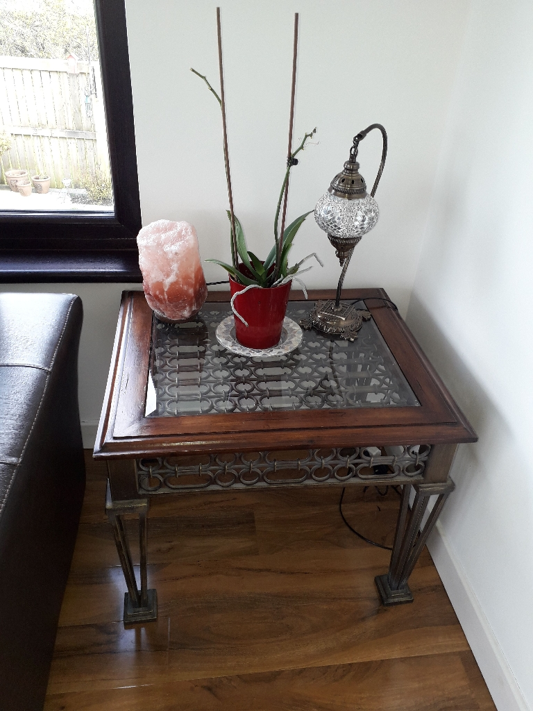 Moroccan style coffee table and 2 side tables