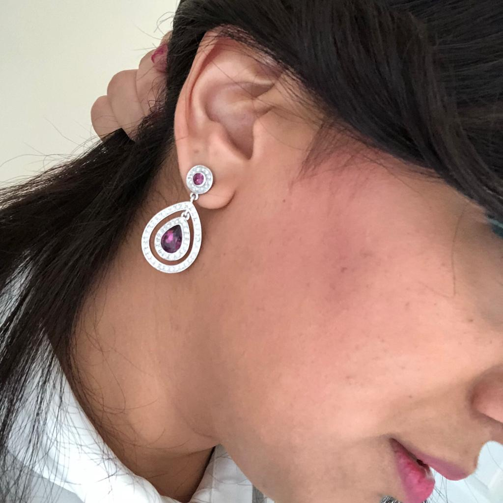 Silver & Purple Earrings by Ka-viva