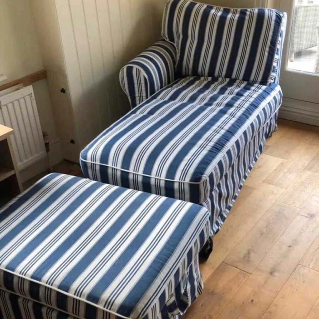 Ikea Chaise Lounger and Matching Footstall