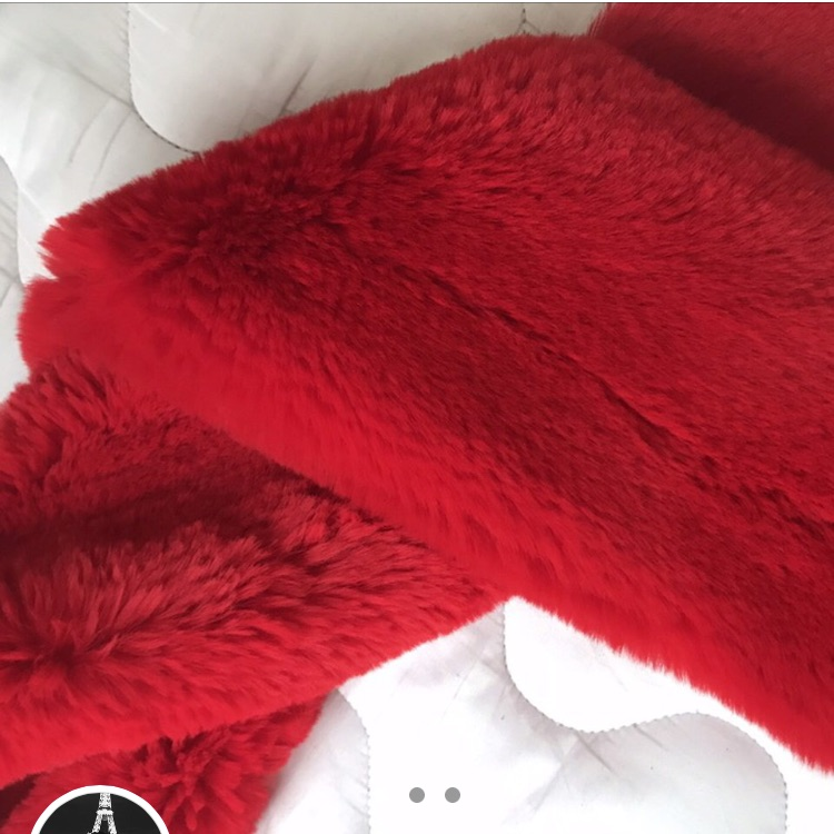 Red Fluffy Faux Fur Scarf