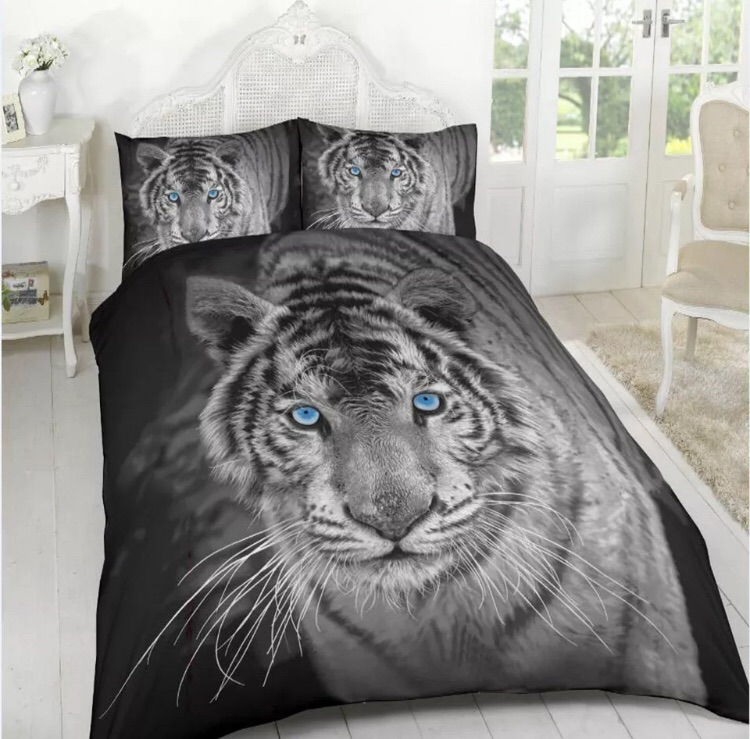 3D black and white tiger bedding sets
