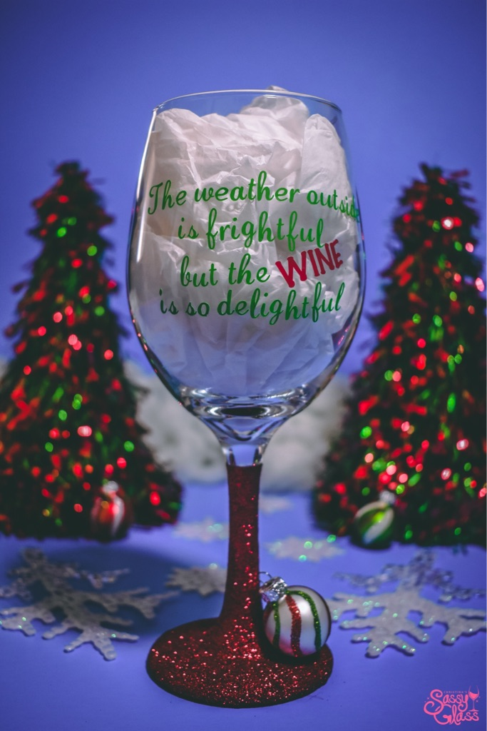 Custom Christmas Wine Glass