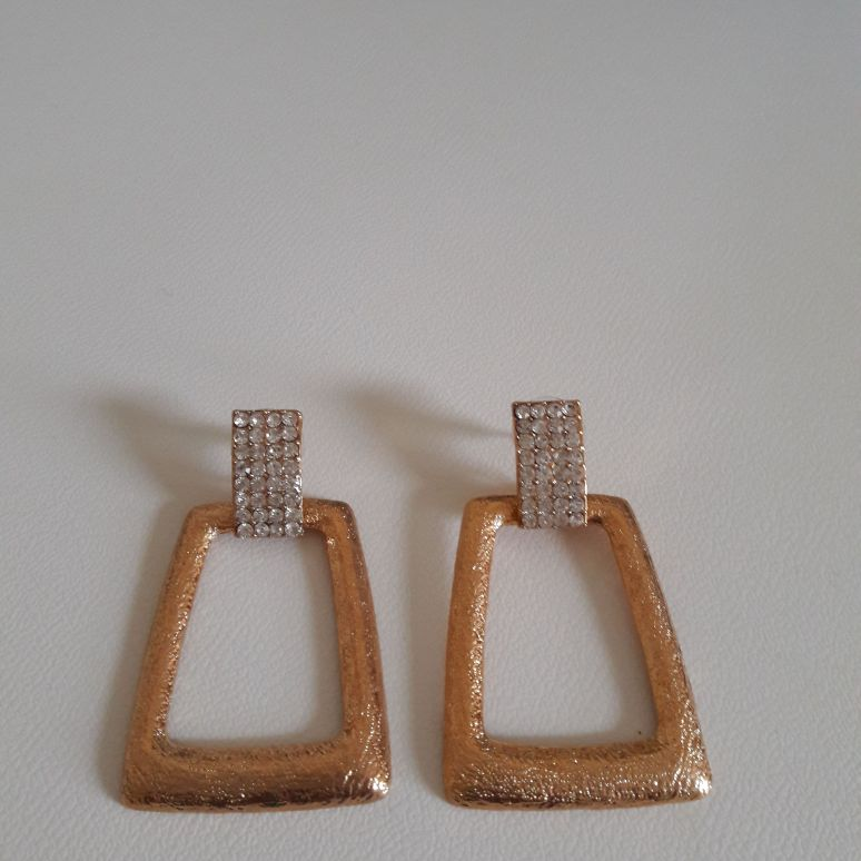 Ladies gold plated & diamante earrings new & boxed