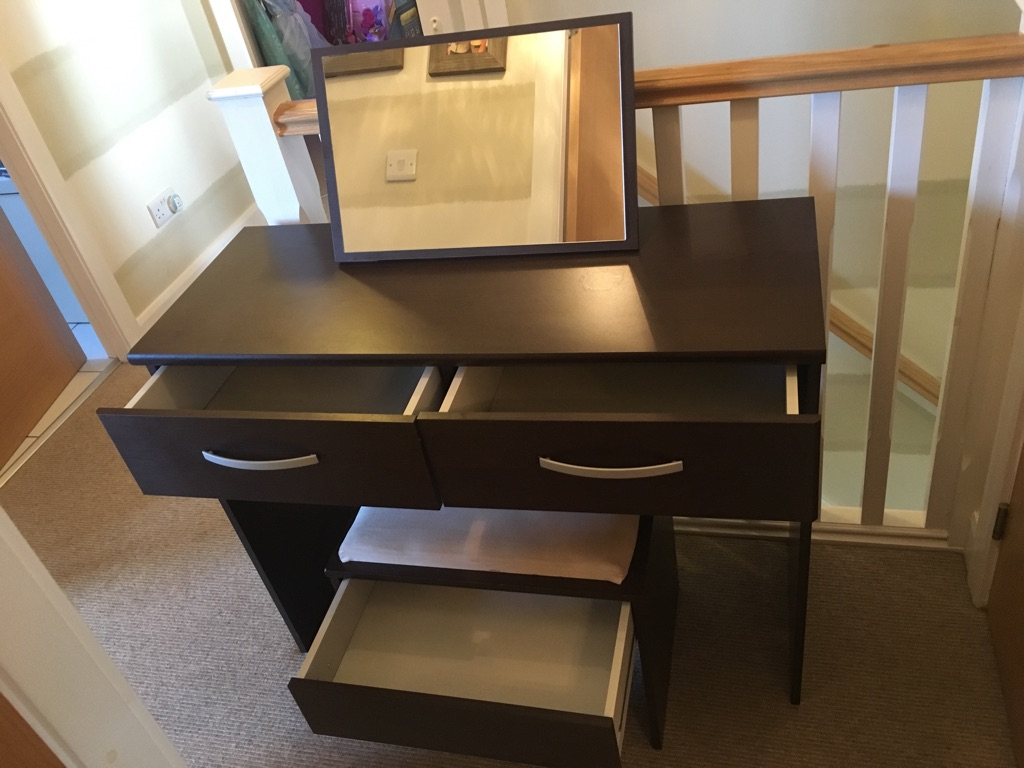 Brown dressing table and storage stool