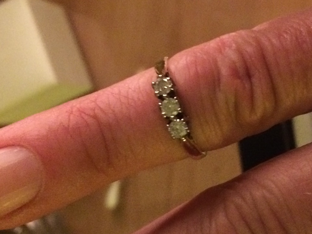 Trilogy diamond and gold ring