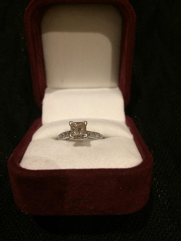Princess Diamond Cut Platinum Ring