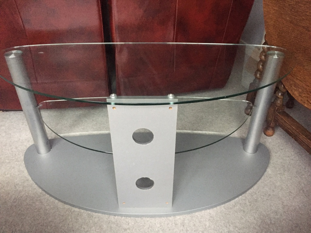 Glass TV stand & 2 Shelves with Heavy Base